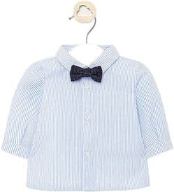 Mayoral baby boy long sleeve blue stripe shirt with bow tie (style 1142)
