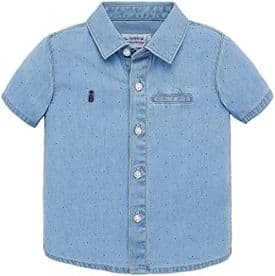Mayoral baby boys blue chambray shirt (style 1156) age 9 months