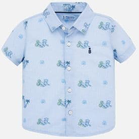 Mayoral baby boys blue leopard print summer shirt in blue (style 1159)