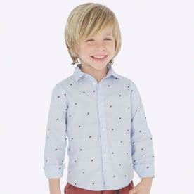 Mayoral Baby Boys Blue Long Sleeved Patterned Shirt - 4119