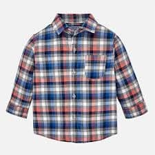Mayoral Baby Boys Long Sleeved Blue Checked Shirt - (style 2142)