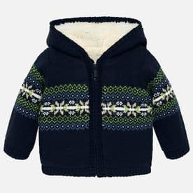 Mayoral baby Boys Navy & Green Patterned Knitted Fleece Hooded Jacket - 2332