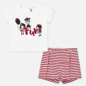 Mayoral baby girls red and white stripe shorts set (1210)