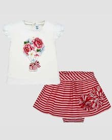 Mayoral baby girls red and white stripe skirt set (1949)