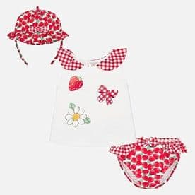 Mayoral Baby Girls Red Swimwear Set With Hat - 1650