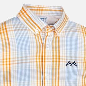 Mayoral boys shirt in blue and orange gingham check (style 3172)