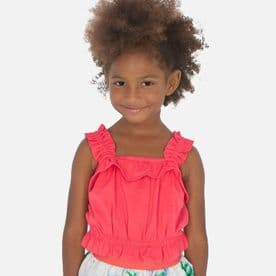 Mayoral coral summer ruffle top for girls (3027)