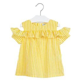 Mayoral girls cold shoulder blouse in yellow and white (3186)