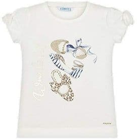 Mayoral Girls Cream and Blue Short Sleeved T-shirt - 3010