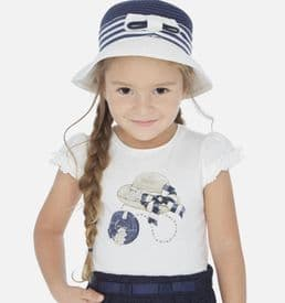 Mayoral girls ivory and navy T-Shirt (3001)