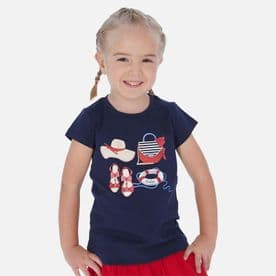 Mayoral girls navy details summer t-shirt sale (3017)