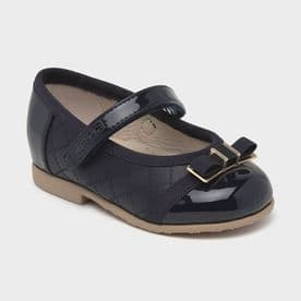 Mayoral navy patent ballerina baby girls shoes (41252)