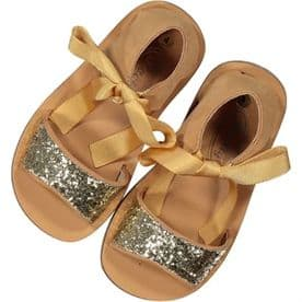 Rochy Girls Glitter Bow Sandals - Camel & Gold