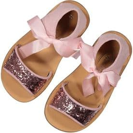 Rochy Girls Glitter Bow Sandals - Pink