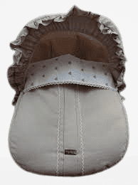 Rosy Fuentes Tan & White Fabric Cover & Hood For First Stage Car Seat