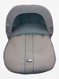 Rosy Fuentes White & Blue Leatherette Zig Zag Cover & Hood For First Stage Car Seat