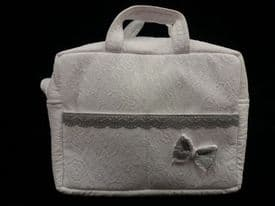 Rosy Fuentes White & Grey Fabric Lace Bow Changing Bag