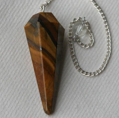 Tigers Eye Crystal Gemstone Dowsing Pendulum