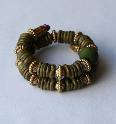 Vintage Retro Womens Bohemian Wood Beaded Bracelet [Green]