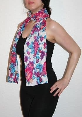 Womens Vintage Crinkle Scarf 100% High Quality Cotton [Blue and Pink Floral Design]