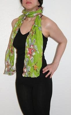 Womens Vintage Crinkle Scarf 100% High Quality Cotton  [Green Floral Design]