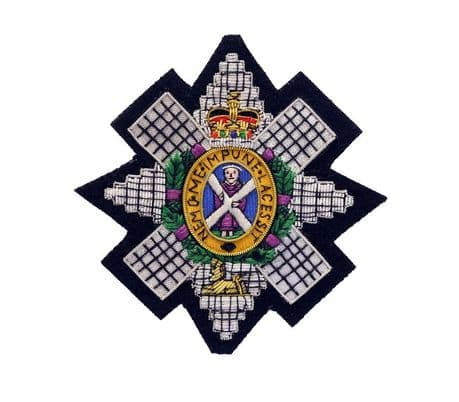 3 SCOTS | The Black Watch | The Royal Highland Regiment wire embroidered blazer badge on a black cloth background.