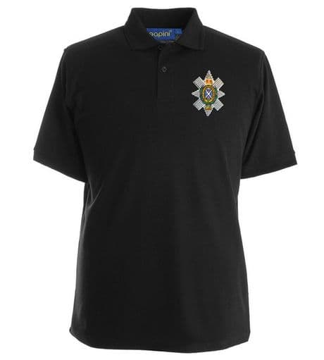 Scotland's infantry regiment The Black Watch, the Royal Highlanders polo shirt with regimental cap badge embroidered on left breast.