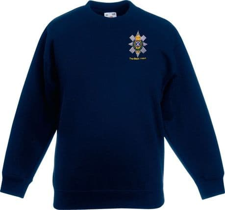 The Black Watch Regiment sweatshirt with regimental cap badge embroidered on left breast.