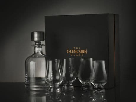 UK Military engraved glencairn decanter and whisky tasting glass with Army regiment cap badges, Royal Navy and RAF crests.