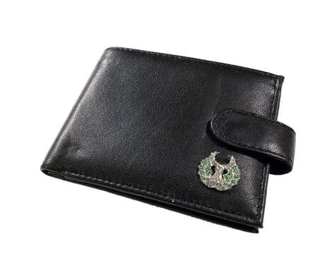 Genuine Leather wallet featuring an enamel badge of the Gordon Highlanders. Great gift idea.