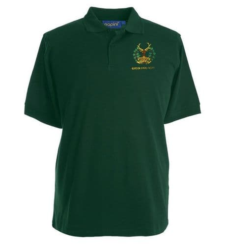 The Gordon Highlanders premium quality military polo shirt with the regimental  Gordon's cap badge embroidered on the left chest.