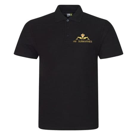 HM Submarines polo shirt with the dolphins badge embroidered on the left chest.