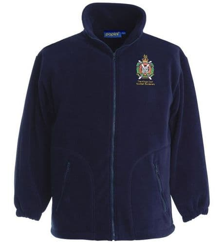 The Kings Own Scottish Borderers premium quality military fleece jacket with the regimental cap badge of the KOSB embroidered on the left chest.