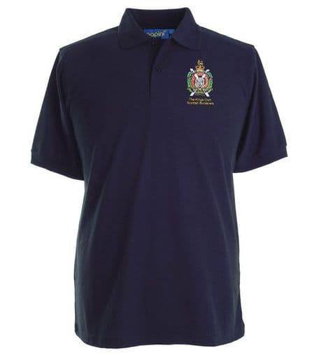The Kings Own Scottish Borderers premium quality military polo shirt with the regimental cap badge of the KOSB embroidered on the left chest.