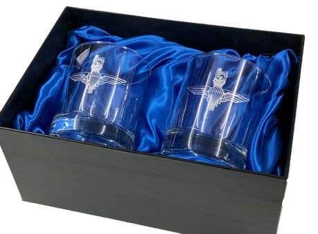 The Parachute Regiment - A beautiful set of fine whisky glasses, presented in a silk lined box.