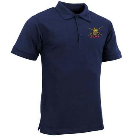 UK Military casual polo shirt with British Army embroidered cap badges, Royal Navy, Royal Marines and RAF.