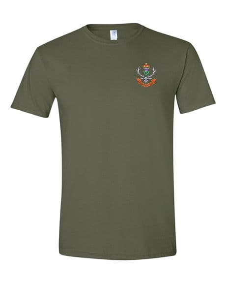 Queens Own Highlanders military t-shirt available in military green and navy with embroidered highlanders cap badge.
