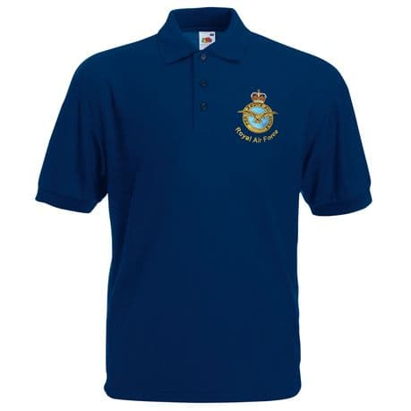 The Royal Air Force - RAF - Collared Polo Shirt available in various colours with RAF crest embroidered on the left chest.