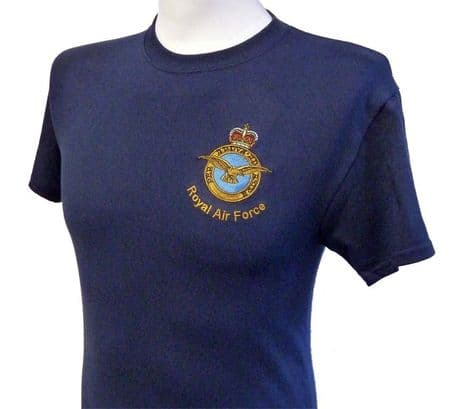 The Royal Air Force - RAF - T-Shirt various colours of cotton t-shirt with RAF crest embroidered on the left chest.