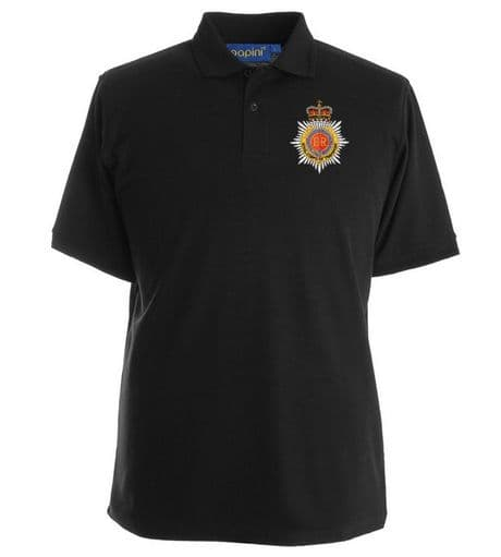 Military polo shirt for the Royal Corps of Transport with the regimental cap badge of the Transport regiment embroidered on the left chest.