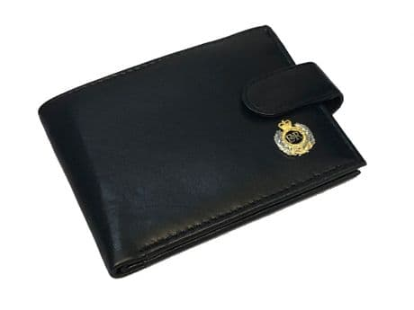 Genuine Leather wallet featuring an enamel badge of the Royal Engineers. Great gift idea.