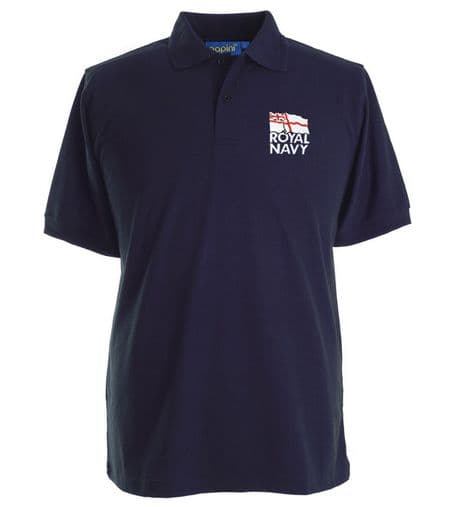 The Royal Navy - poly-cotton polo shirt with the white ensign logo of the Royal Navy on the left chest.