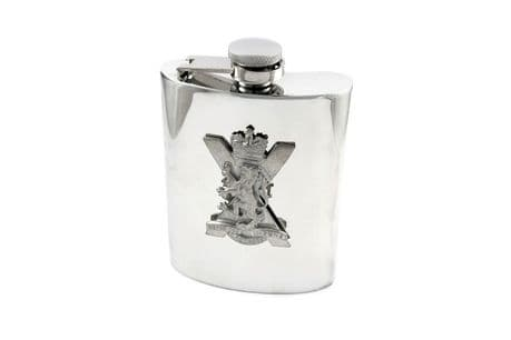 The Royal Regiment of Scotland highly polished 6oz Hip Flask with pewter SCOTS cap badge and option to add a personal inscription.