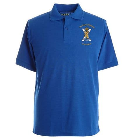 The Royal Regiment of Scotland embroidered polo shirt with regimental cap badge, available in several colours, quick delivery.