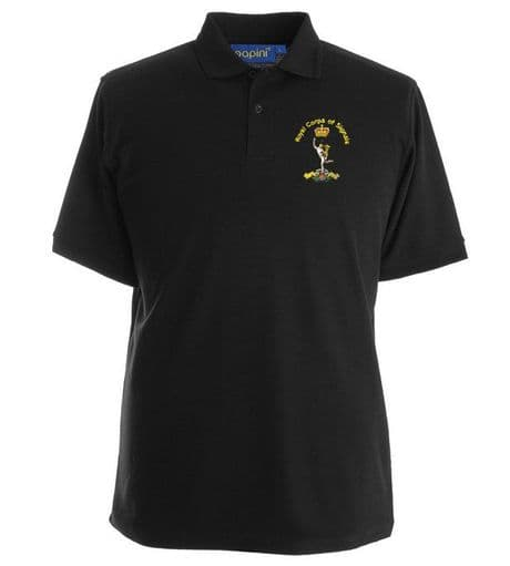 The Royal Signals premium quality military polo shirt with the regimental cap badge of the signals embroidered on the left chest.