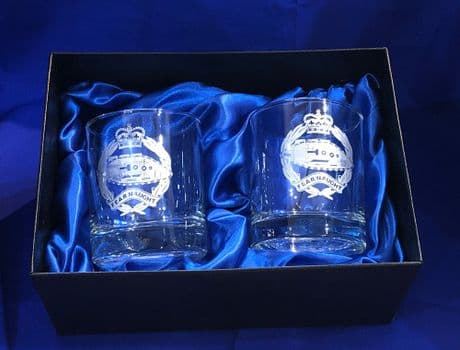 The Royal Tank Regiment whisky glass in presentation box. RTR glassware gift idea.