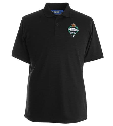 The Royal Tank Regiment quality military polo shirt with the regimental cap badge of the Royal Tank Regiment embroidered on the left chest.