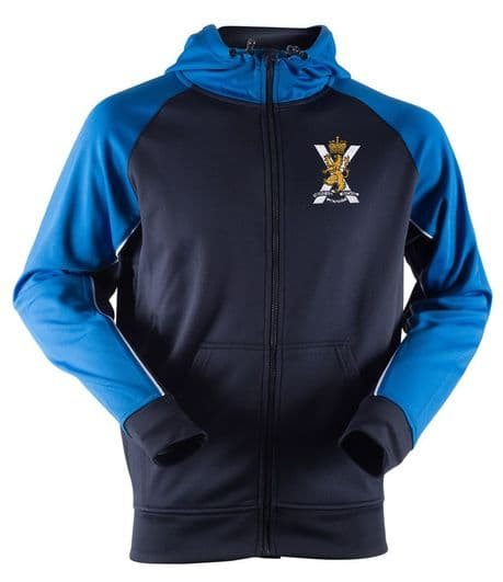 The Royal Regiment of Scotland hooded sweatshirt with the SCOTS regimental cap badge embroidered with battalion and company options.