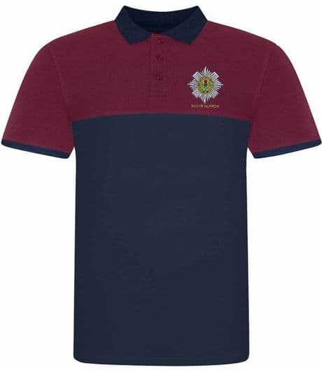 Scots Guards cotton polo shirt available in maroon and navy blue with embroidered regimental cap badge.