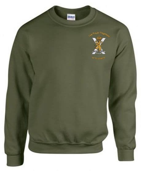 The Royal Regiment of Scotland regimental working sweatshirt available in Royal for serving and TA soldiers only £19.99 with free delivery.